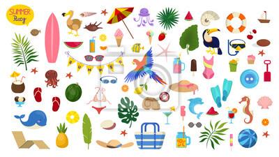 Obraz Summer vacation set. Collection of holiday symbol