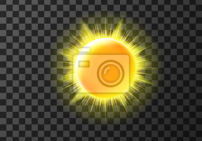 Obraz Sun disk with rays, weather meteo icon cartoon vector illustration. Yellow shiny sun with radiant light. Element for weather forecast, isolated on transparent background