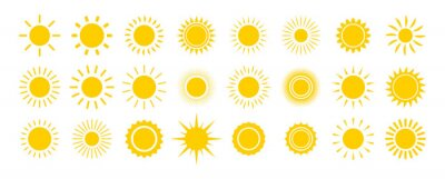 Obraz Sun icon set. Yellow sun star icons collection. Summer, sunlight, nature, sky. Vector illustration isolated on white background.