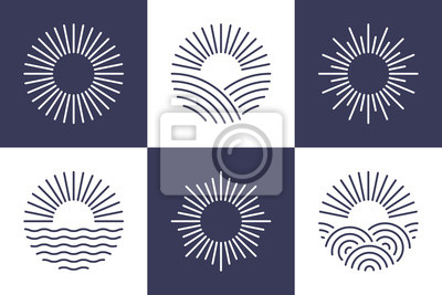 Obraz Sun logotype collection. Isolated abstract round shape logo set. Modern, simple flat vector illustration.