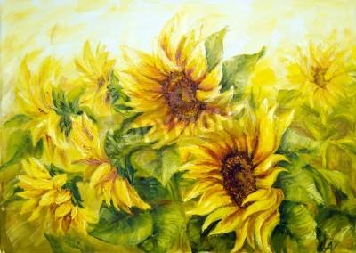 Obraz Sunny Słoneczniki, obraz olejny na płótnie