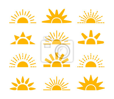 Obraz Sunrise & sunset symbol collection. Horizon flat vector icons. Morning sunlight signs. Isolated object. Yellow sun rise over horison.