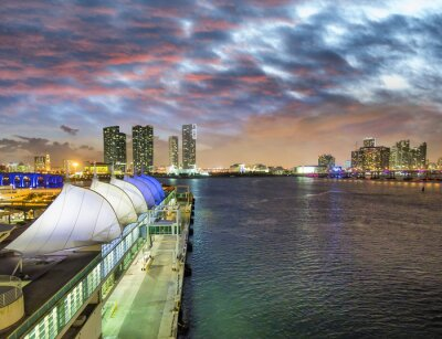 Sunset in Miami Port, Florida. View of the city from departing cruise ship