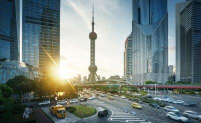 sunset in Shanghai lujiazui financial center, China