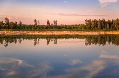 Sunset near the summer lake