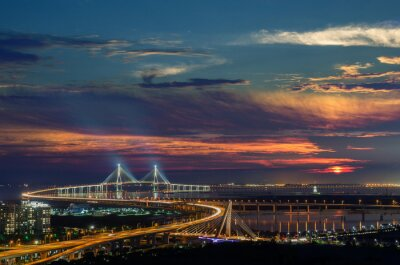 Obraz Sunset od Incheon Bridge w nocy, Korea Seouth.