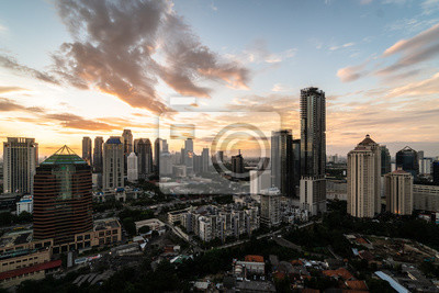 Sunset over Jakarta business district in Indonesia