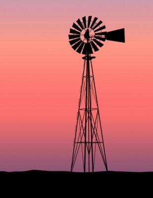 Obraz Sunset Silhouette Windmill