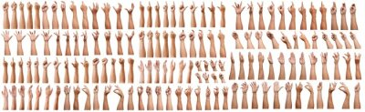 Obraz SUPER SET of Male asian hand gestures isolated over the white background. Grab with five fingers Action. sexual sign. Masturbation.Pointing Visual Touch Action.