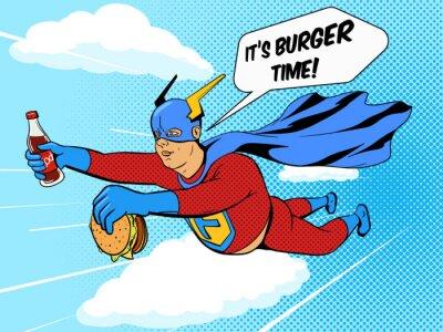 Obraz Superhero grubas i Burger komiks wektora