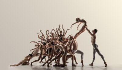 Obraz Support. Group of modern ballet dancers. Contemporary art. Young flexible athletic men and women in tights. Negative space. Concept of dance grace, inspiration, creativity. Made of shots of 11 models.