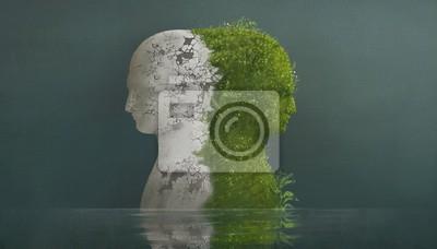 Obraz Surreal contrast emotions concept, broken human head sculpture and nature human head in water, fantasy illustration