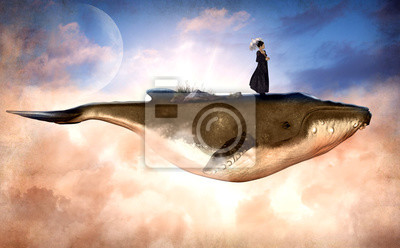 Obraz Surreal Flying Humpback Whale and a Woman on Top