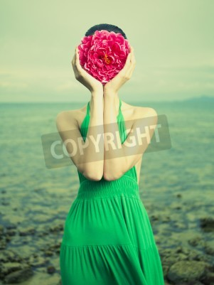Obraz Surreal portrait of a woman with a flower instead of a face