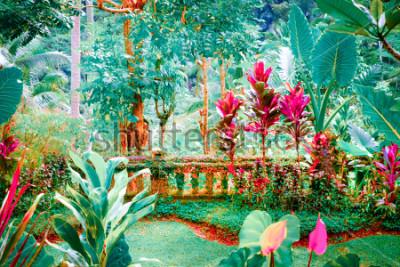 Obraz Surrealistyczne kolory fantazyjny ogród z niesamowitymi roślinami i kwiatami