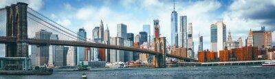 Obraz Suspension Brooklyn Bridge across Lower Manhattan and Brooklyn. New York, USA.