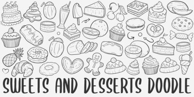 Obraz Sweets and Desserts Doodle Line Art Illustration. Hand Drawn Vector Clip Art. Banner Set Logos.