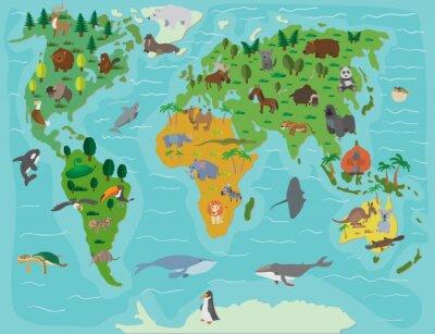 Obraz świata zwierzęcego. Śmieszne kreskówki mapie