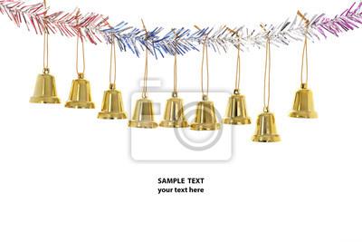 Świąteczne dekoracje / Bliska mały dzwon, dekoracje świąteczne z przykładowy tekst na białym tle.