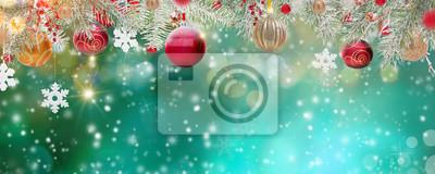 Obraz Świąteczne dekoracje na abstrakcyjnym tle