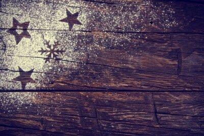 Obraz Świąteczne słodycze nad drewnianym tle, Close-up.