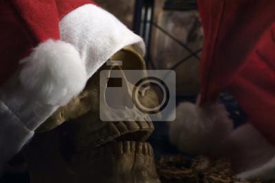 Święty Mikołaj kapelusz z czaszki / Zbliżenie Santa Claus kapelusz z czaszki.