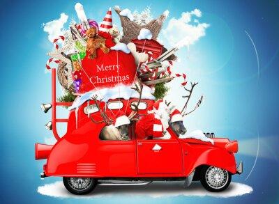 Obraz Święty Mikołaj z reniferów w samochodzie z prezenty
