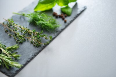 Obraz Świeże zioła na łupków