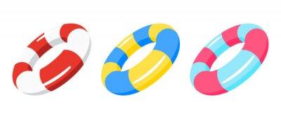 Obraz swimming ring, lifebuoy set vector illustration isolated