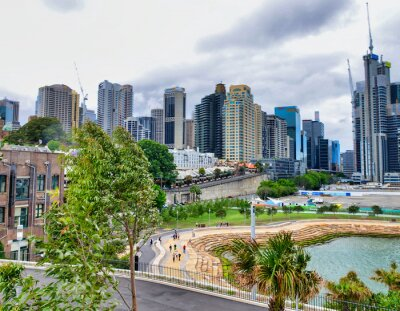 SYDNEY - NOVEMBER 2015: City skyline with buildings and homes