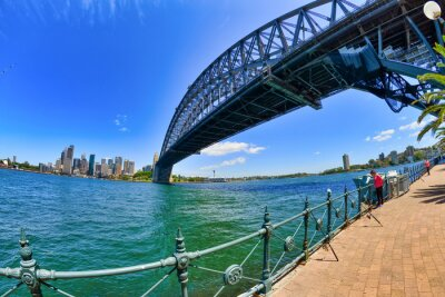 SYDNEY - NOVEMBER 2015: People under the Sydney Harbour Bridge on a sunny day