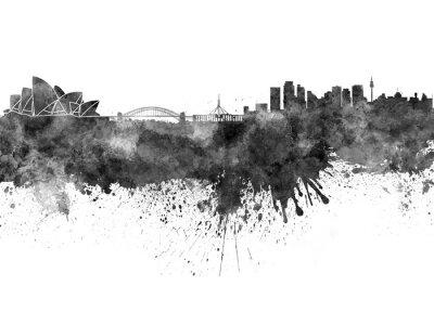 Obraz Sydney skyline in black watercolor