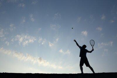 Obraz Sylwetka człowieka gry w tenisa