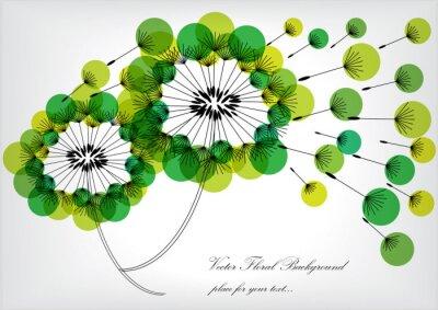 Obraz sylwetką dandelions z zielonymi bąbelkami