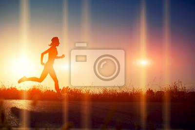 Obraz Sylwetka dziewczyna athletic spływały piękne drogi
