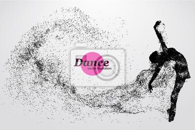 Obraz Sylwetka dziewczyny tańczące od cząstki. Tancerz kobietą.