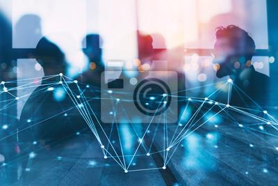 Obraz Sylwetka ludzi biznesu współpracuje w biurze. Koncepcja pracy zespołowej i partnerstwa. podwójna ekspozycja z efektami sieciowymi