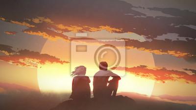 Obraz sylwetka młodej pary siedzi na skale patrząc na zachód słońca, cyfrowy styl, malarstwo ilustracja