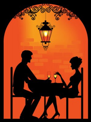 Obraz Sylwetka para w restauracji