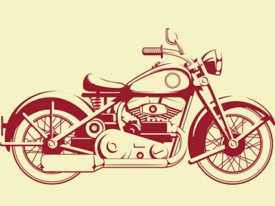 Obraz Sylwetka Starego motocykl - Zobacz profil