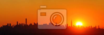 Sylwetka wschód słońca w Nowym Jorku