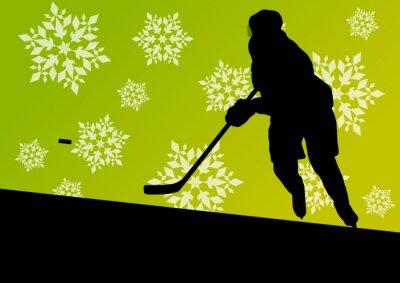 Obraz Sylwetki graczy aktywna młodych mężczyzn hokej sportowe w zimie lodu