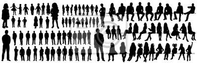 Obraz Sylwetki ludzi, kolekcja, dziewcząt, mężczyzn