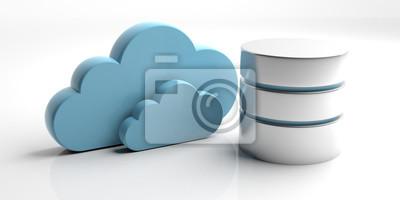 Obraz Symbol bazy danych i przechowywania chmura na białym tle. 3d ilustracji