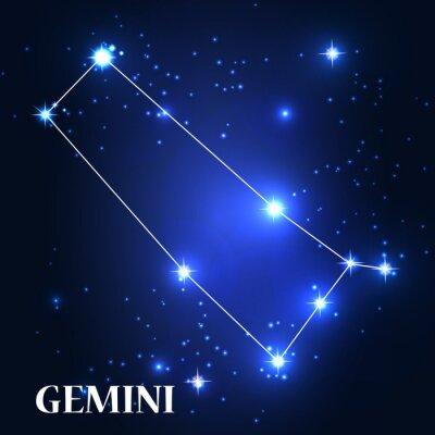 Obraz Symbol. Znak zodiaku Gemini. Ilustracja wektora.