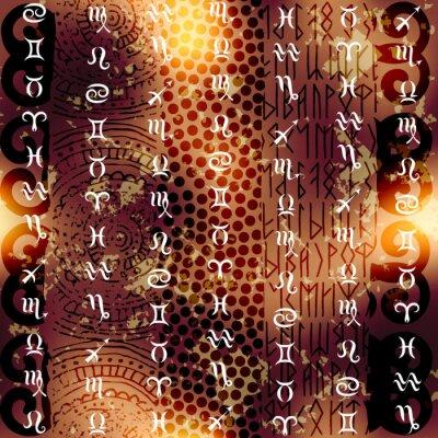 Obraz Symbol zodiaku tle etnicznym na grunge.