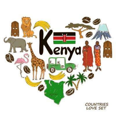 Obraz Symbole w Kenii serca kształtu koncepcji