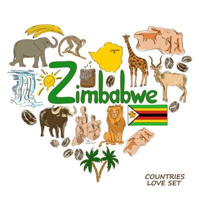 Obraz Symbole Zimbabwe w kształcie serca koncepcji