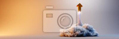 Obraz Symulacja wybuchu ze znakiem strzałki, oryginalna ilustracja renderowania 3d