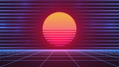 Obraz Synthwave Sun. 80s grid background. Retro future advertisement banner template. Retrowave neon backdrop. Dark night sky. Bright pink Sun. Blue neon horizontal lines. Stock vector illustration